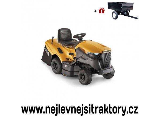 zahradní traktor stiga estate 5092 hw žluté barvy s velkými koly