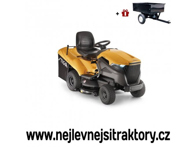 zahradní traktor stiga estate 6102 hw žluté barvy s velkými koly