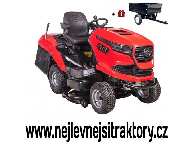 zahradní traktor seco starjet exclusive uj 102-24 4x4 červené barvy, černou žebrovanou maskou a velkými koly