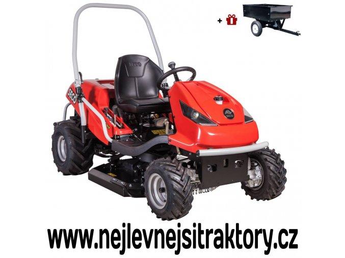 zahradní traktor seco crossjet sc 92-23 4x4 červené barvy a velkými koly se šípovým vzorkem