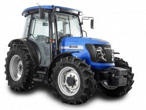 zemědělský traktor solis 90 crdi modré barvy s kabinou pro řidiče