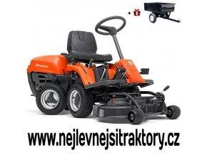 zahradní traktor, rider husqvarna r 112c oranžovo-černé barvy s předním sečením a velkými koly