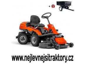 zahradní traktor, rider husqvarna r 213c oranžovo-černé barvy s předním sečením a velkými koly