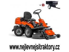zahradní traktor, rider husqvarna r 216 oranžovo-černé barvy s předním sečením a velkými koly