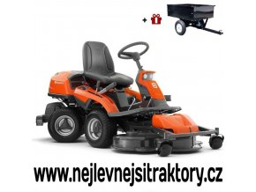 zahradní traktor, rider husqvarna r 316txs awd oranžovo-černé barvy s předním sečením a velkými koly