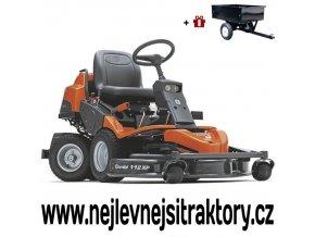 zahradní traktor, rider husqvarna r 418ts awd oranžovo-černé barvy s předním sečením a velkými koly