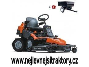 zahradní traktor, rider husqvarna r 422ts oranžovo-černé barvy s předním sečením a velkými koly