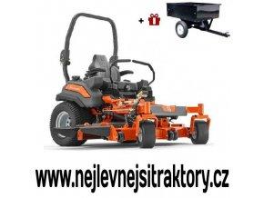 zahradní traktor, rider husqvarna z560x oranžovo-černé barvy s předním sečením a velkými zadními koly