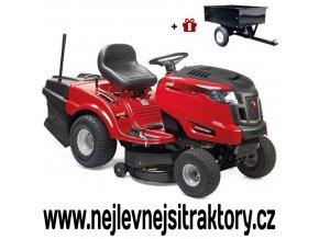 zahradní traktor mtd optima le 145 h červené barvy s velkými koly