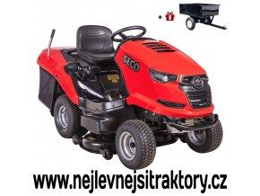 zahradní traktor seco starjet uj 102-22 červené barvy, černou žebrovanou maskou a velkými koly