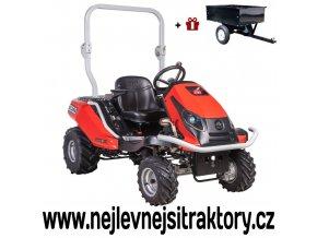 zahradní traktor seco goliath gc xx-23 červené barvy a velkými koly se šípovým vzorkem
