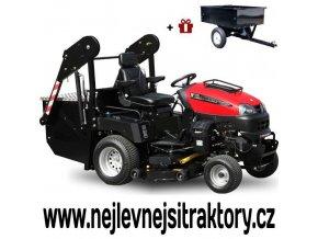 zahradní traktor wisconsin pirana s velkým vyklápěcím košem a červenou kapotou