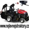 zahradní traktor wisconsin bulldog s červenou kapotou a velkým vyklápěcím košem