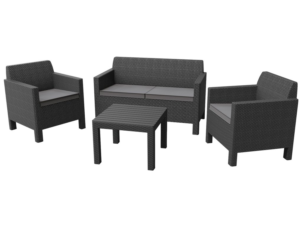 Allibert ORLANDO + SMALL TABLE grafit+šedé podušky