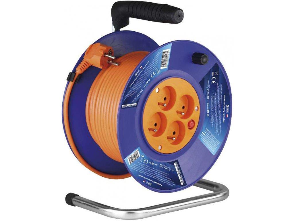 Prodlužovací kabel na bubnu 25m 4zásuvky 3x1,5mm2 oranžová EMOS P19425