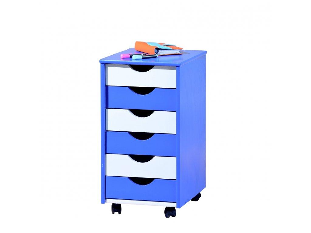 Pojízdný kontejner šuplíková komoda pro děti Halmar BEPPO modrá bílá