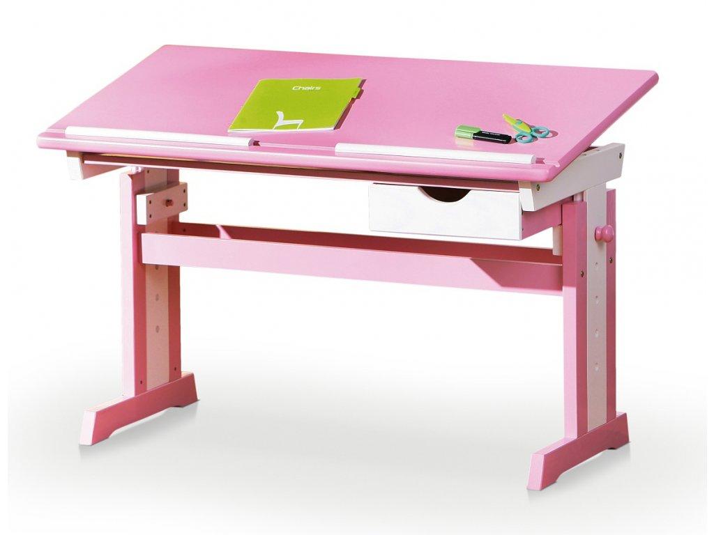 Dětský rostoucí psací naklápěcí psací stůl CECILIA růžový