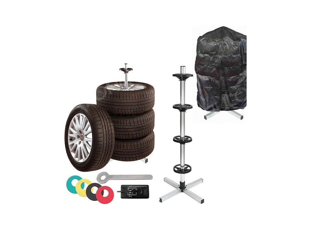 Stojan na ALU kola pneumatiky s obalem pneuměřičem