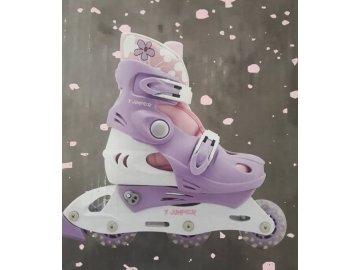 Dětské rostoucí kolečkové brusle X Jumper fialové