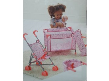 Carousel Panenka 32 cm + kočárek + postýlka + jídelní židlička 0063257