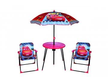 Globalindustry dětský zahradní set Cars modročervený stolek + 2 židle + deštník