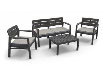 BIBL Zahradní sedací souprava JAVA plast antracitově černá
