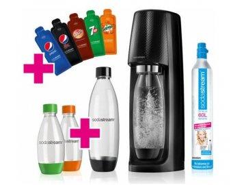 Sodastream Easy Black, 2x 1l PET, 2x 0,5l PET, 6x sirup (vzorek)