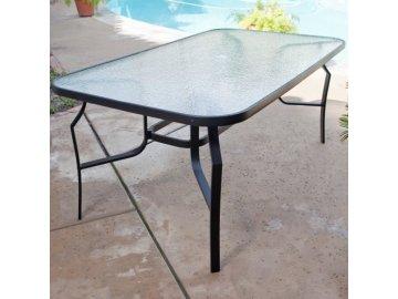 zahradní stůl ABC 9825 se skleněnou deskou 150 x 80 cm šedý