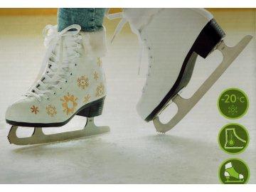 Dámské lední zimní brusle s kožíškem dívčí krasobruslařské bílé