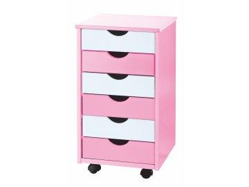 pojízdný kontejner šuplíková komoda pro děti růžová bílá Pierre