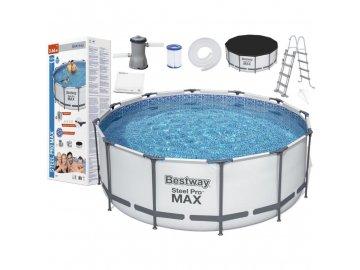 Bestway 56420 bazén Steel Frame Pro 3,66 x 1,22 m set (+ kartušová filtrace, schůdky, plachty)