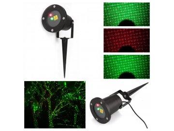 Vánoční laserový projektor zelená červená 20 x 20 m s časovačem OEM AT53748