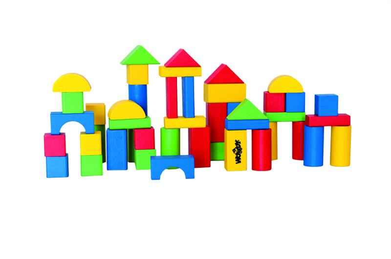 Woody 90907 kostky v kyblíku s prostrkávacím víkem barevné