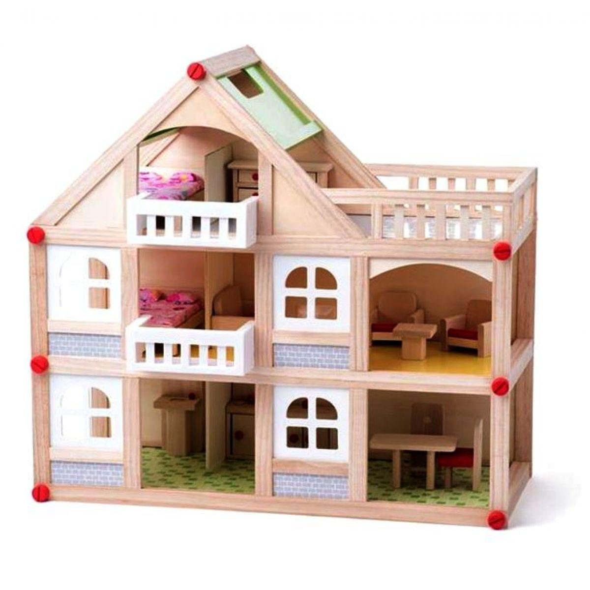 Woody Dřevěný domeček pro panenky dvoupatrový s příslušenstvím