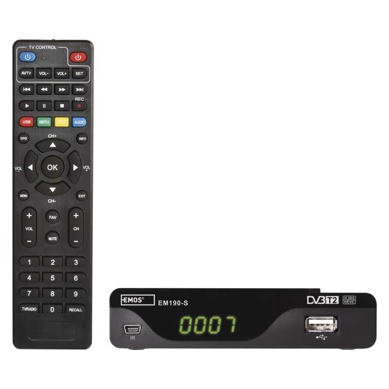Set-top box Emos EM190-S, DVB-T2 2520236400 - DOPRAVA ZA 55,- Kč (ZÁSILKOVNA.CZ)