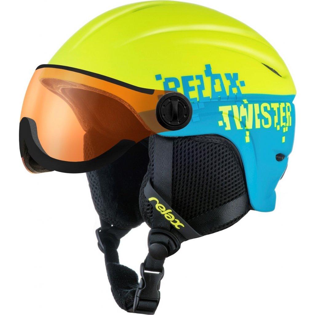 Dětská lyžařská helma RELAX Twister Visor Junior žlutá/modrá