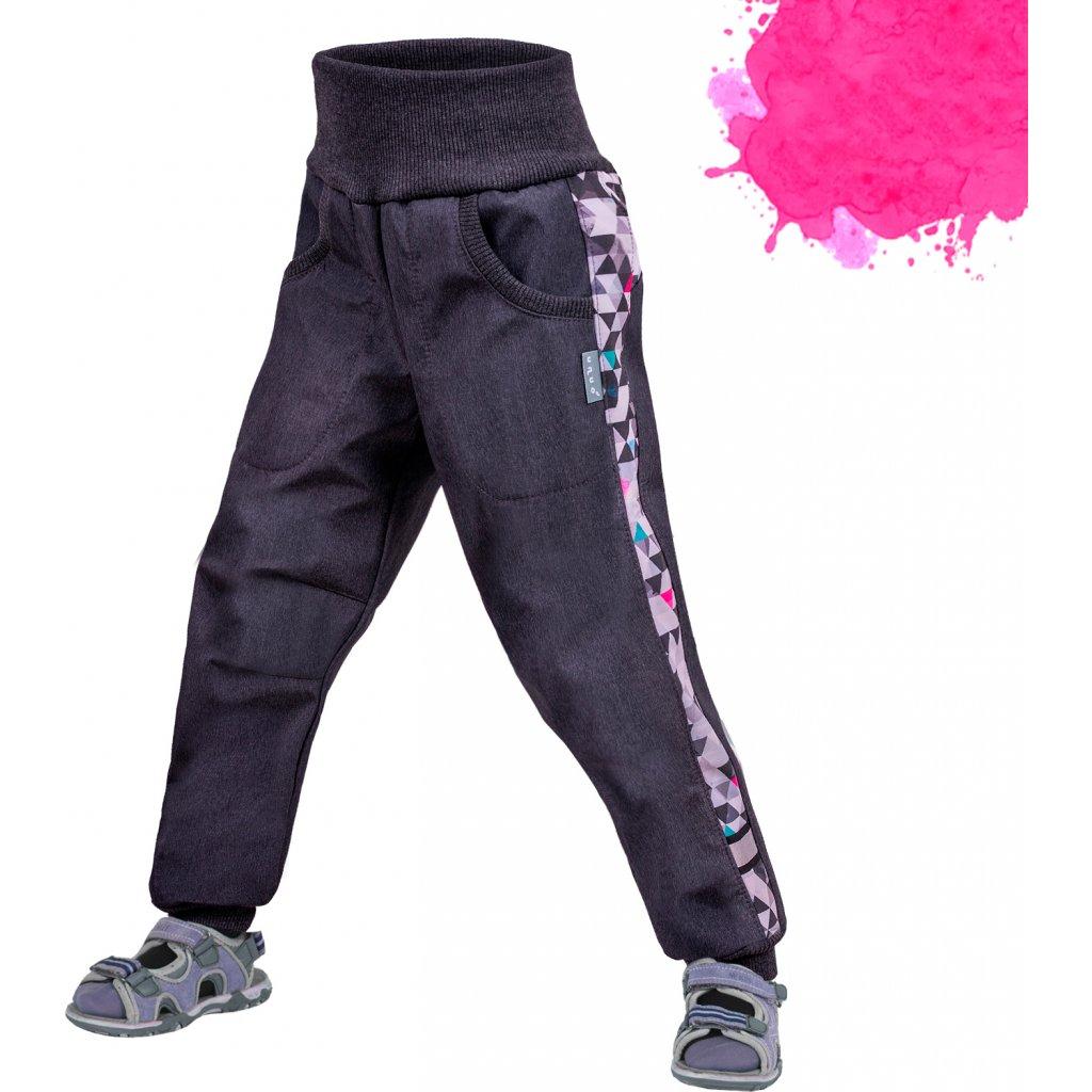 Dětské softshellové kalhoty UNUO Street bez zateplení, Žíhaná antracitová, Metricon růžová