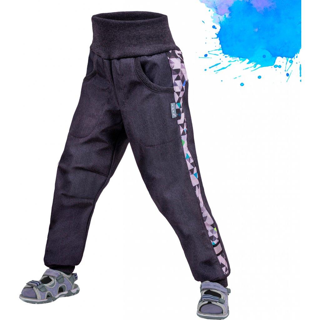 Dětské softshellové kalhoty UNUO Street bez zateplení, Žíhaná antracitová, Metricon modrá