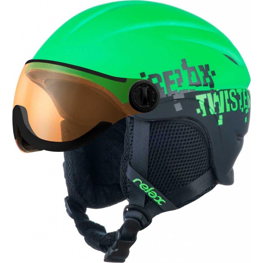 Dětská lyžařská helma RELAX Twister Visor zelená