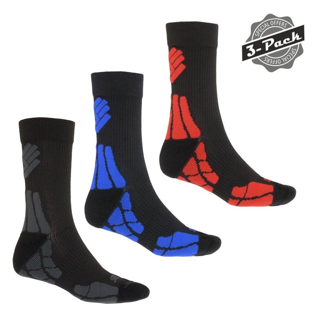 Ponožky SENSOR Hiking merino šedá/červená/modrá