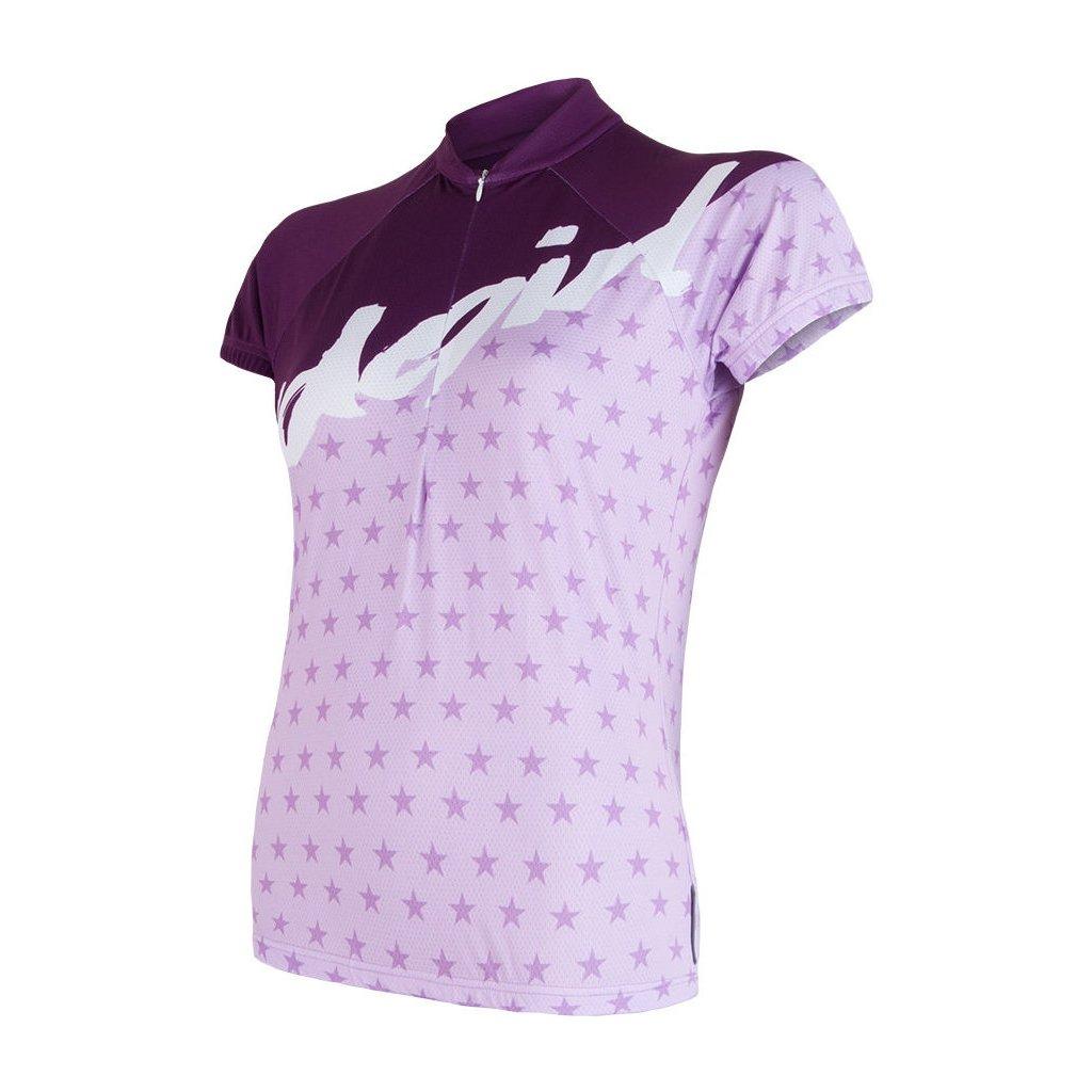 SENSOR CYKLO STARS dámský dres kr.rukáv fialová (Akce B2B)