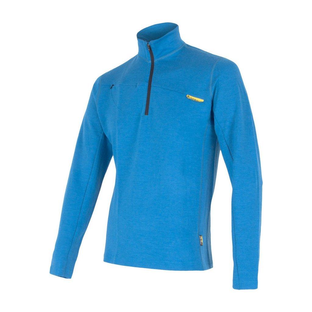 SENSOR MERINO UPPER pánská mikina krátký zip modrá