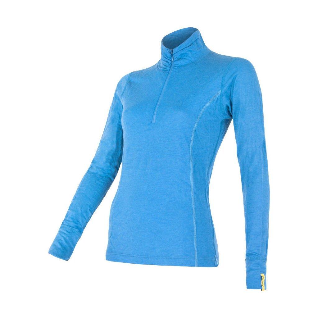 SENSOR MERINO ACTIVE dámské triko dl.rukáv stoják zip modrá