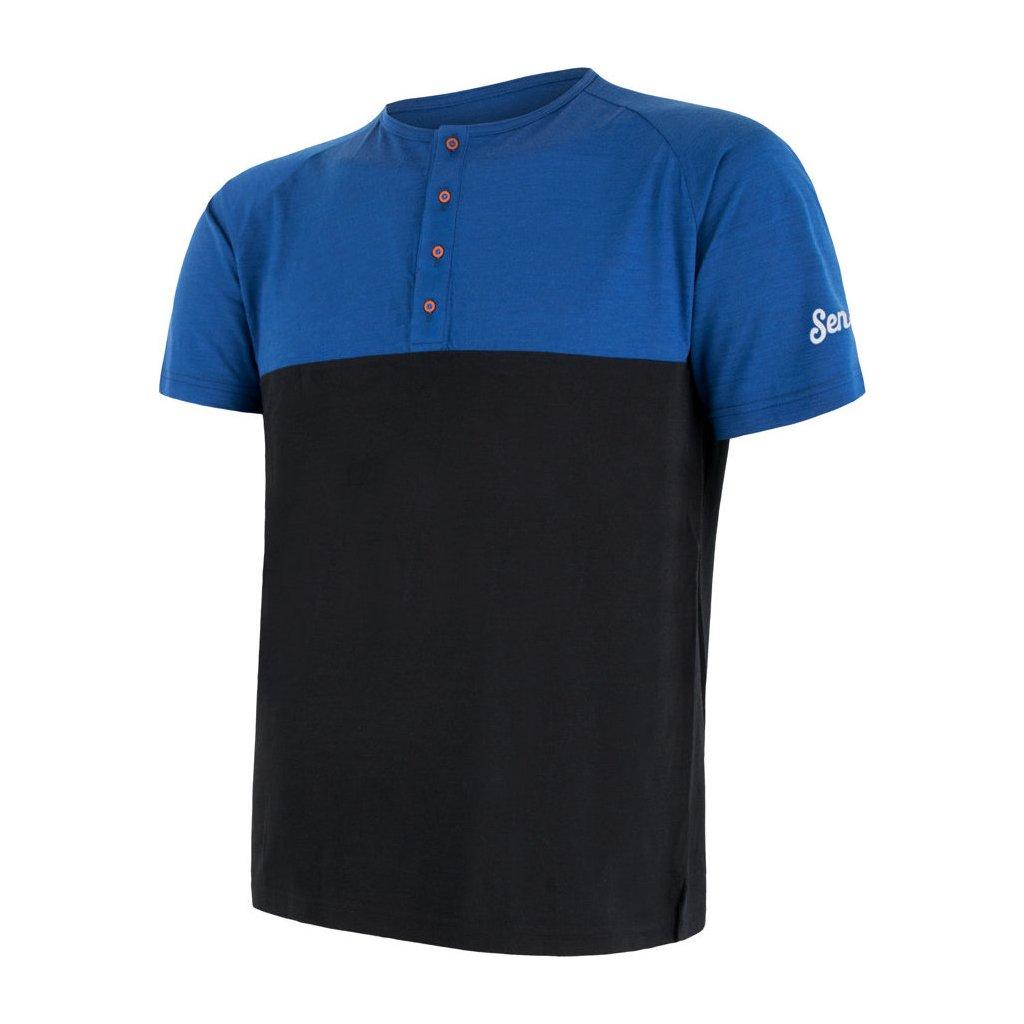 SENSOR MERINO AIR PT pánské triko kr.rukáv s knoflíky modrá/černá