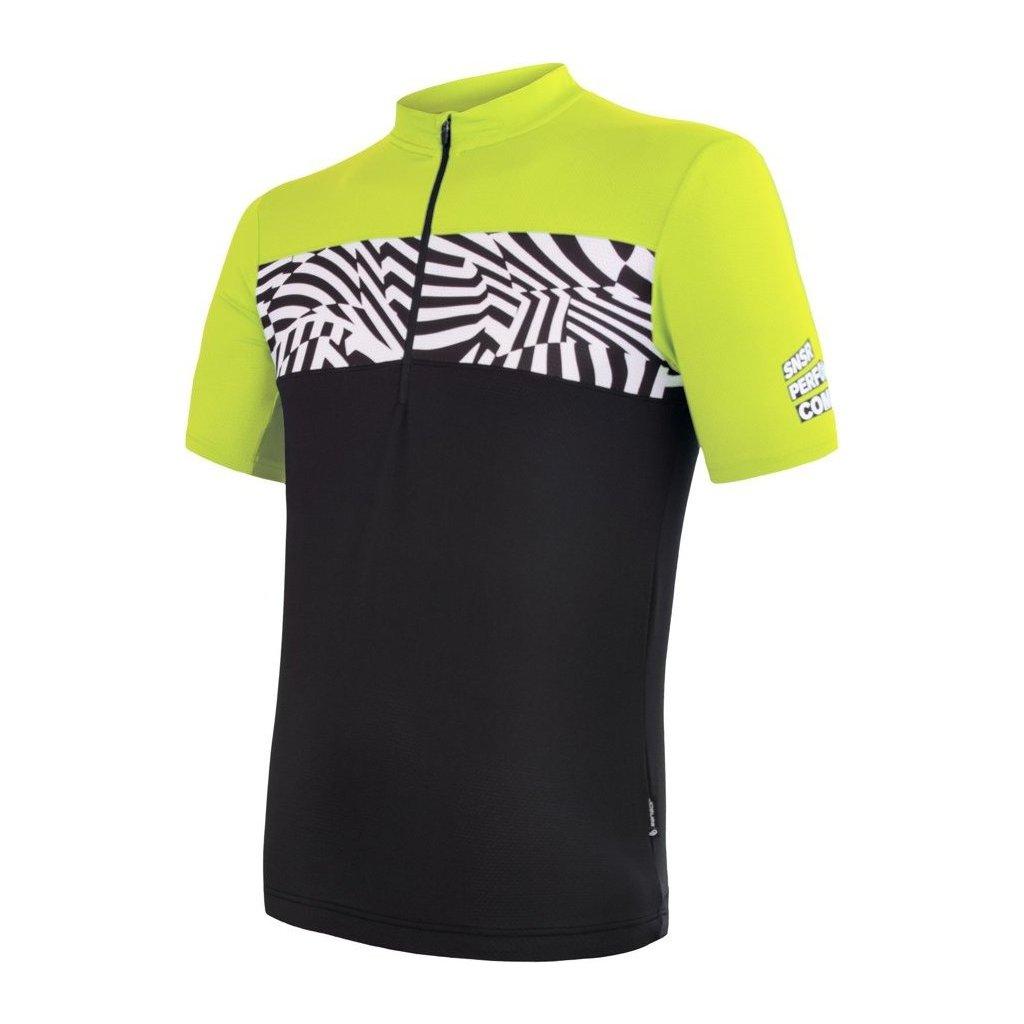 SENSOR CYKLO MILES pánský dres kr.rukáv černá/reflex žlutá