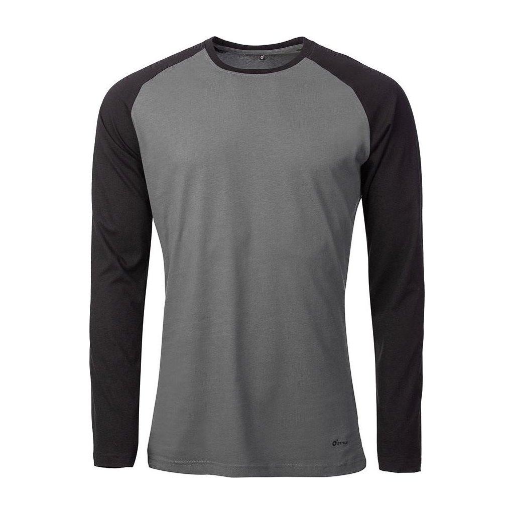 Pánské bavlněné triko O'STYLE Raglan-Long khaki/černá