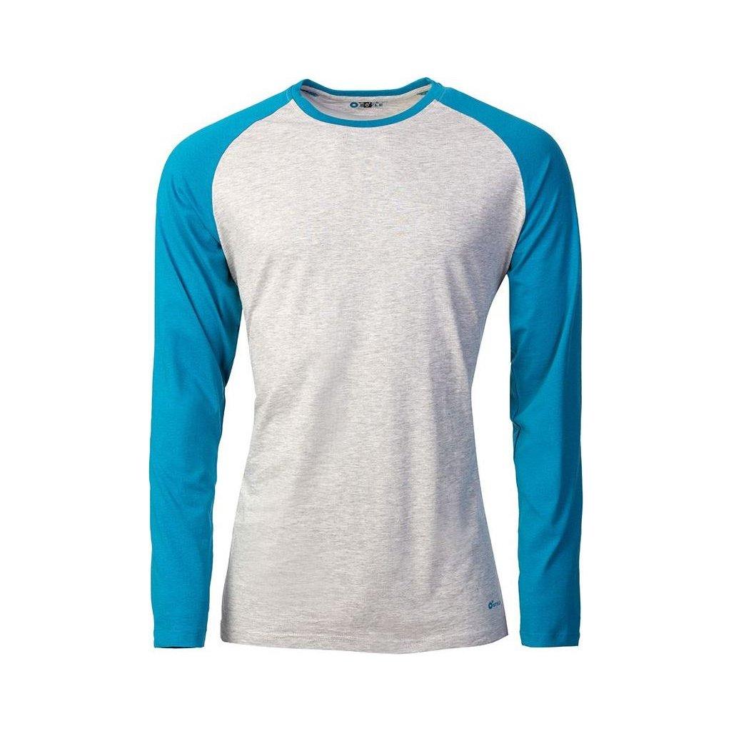 Pánské triko O'STYLE Raglan-Long šedá/petrol