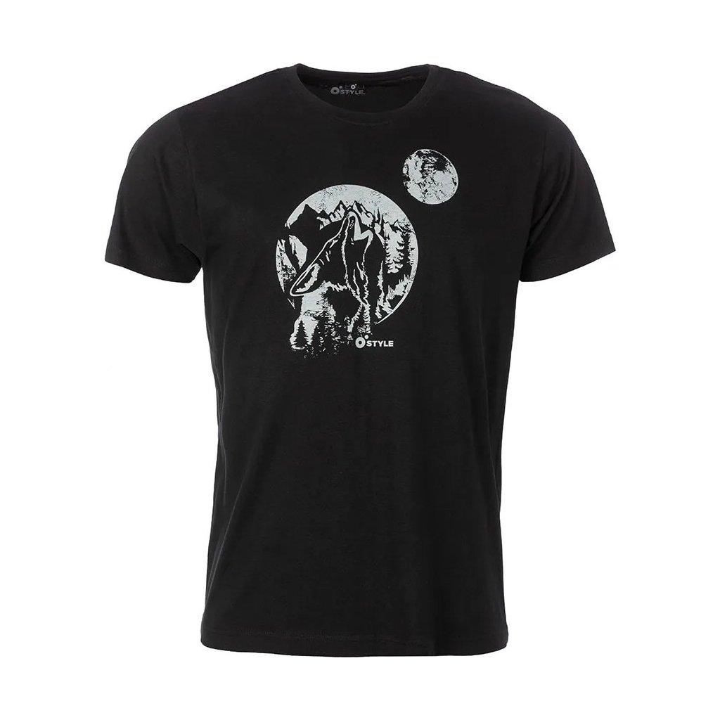 Pánské bavlněné triko O'STYLE Wolf černé