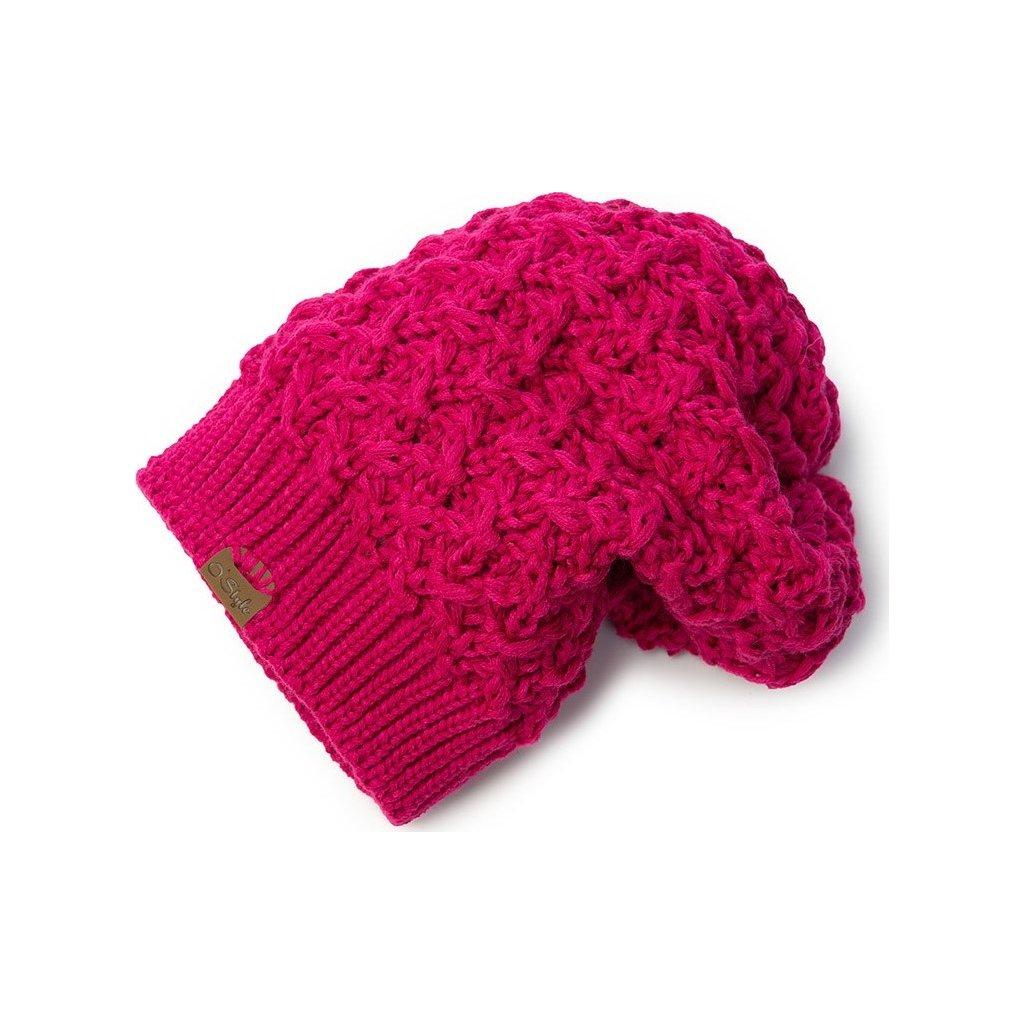 Pletená čepice O'STYLE Elisa růžová