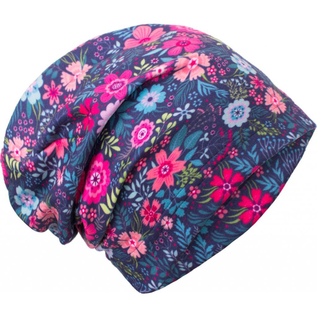 Dámská čepice UNUO fleecová spadená, Květinky